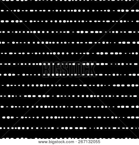 Dotted Horizontal Lines Seamless Vector Background. White Dots On Black Background. Abstract Monochr