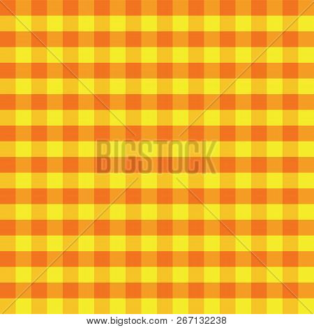 Yellow And Orange Plaids Seamless Pattern. Checkered Seamless Vector Pattern. Great For Backgrounds,