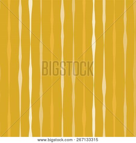 Vertical Hand Drawn Lines Seamless Vector Background. White Lines On Gold Background. Aabstract Patt