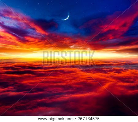 Abstract Big Explosion .  Light From Sky . Religion Background . Beautiful Cloud . Background Sky At