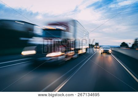 Big Rig 18-wheeler Semi-truck Motion Blur Transportation Concept