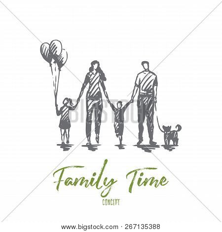 Family Time, Mother, Kids, Happy, Father Concept. Hand Drawn Happy Family Walking Outside Concept Sk