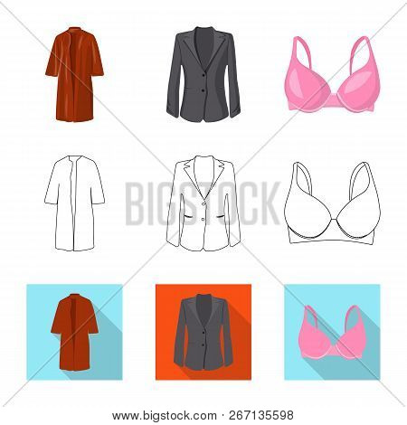 Vector Illustration Of Woman And Clothing Sign. Set Of Woman And Wear Stock Symbol For Web.
