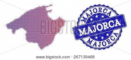 Halftone Dot Map Of Majorca And Blue Scratched Seal. Vector Halftone Map Of Majorca Constructed With