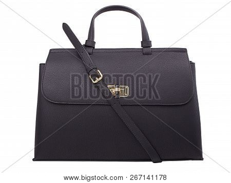 Black Handbag On White Background. Women Leather Handbags Isoladet On White.