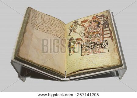 Madrid, Spain - Sept 8th, 2018: Facsimile Book Of Actec Codex Tudela. Museum Of The Americas, Madrid