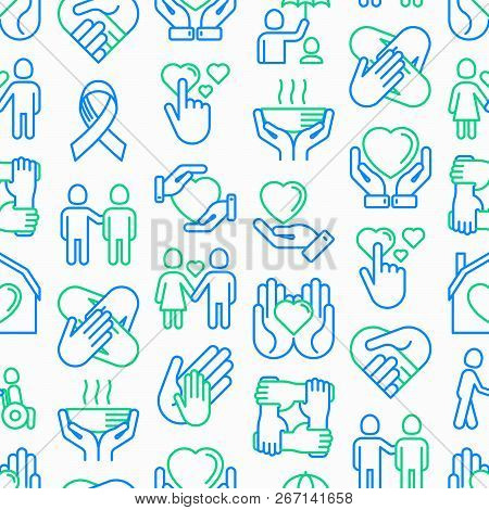 Help And Care Seamless Pattern With Thin Line Icons: Symbols Of Support, Help For Children And Disab