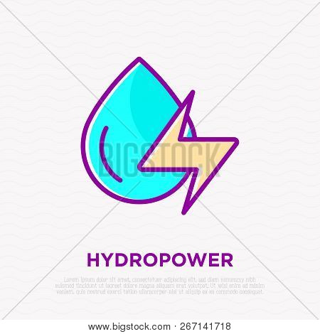 Hydropower: Water Drop With Energy Symbol. Thin Line Icon. Modern Vector Illustration Of Renewable E