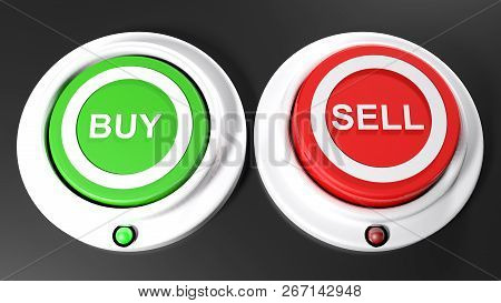 Pushbuttons To Buy And Sel; Buy Is Selected - 3d Rendering Illustration