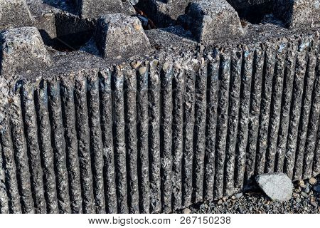 Concrete Cement Roadside Barrier Block Abstract Photo
