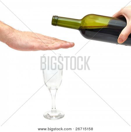 hand over glass - stop alcoholism concept