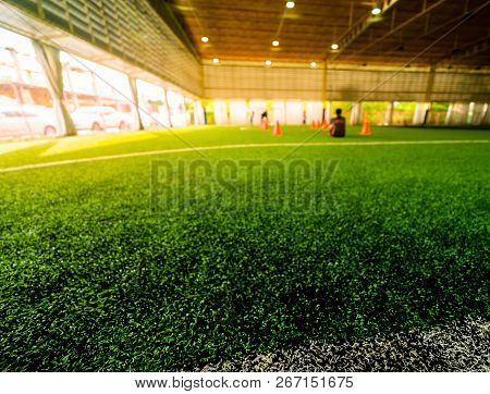 White Line Of An Indoor Football Soccer Training Field