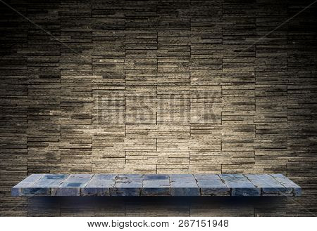 Gray Stone Rock Shelf Counter On Rock Pattern For Product Display