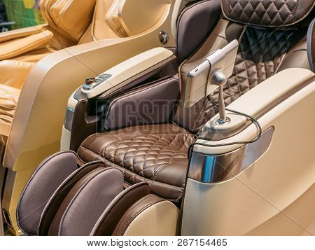 Modern Leather Comfortable Massage Chair For Relax After Stress, Close Up