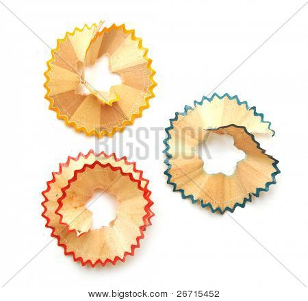 crayon shavings on white background