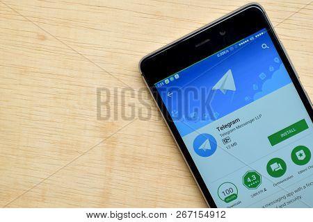 Bekasi, West Java, Indonesia. November 6, 2018 : Telegram Dev App On Smartphone Screen. Telegram Is