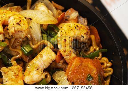 Traditional Shrimp Yakisoba. Japanese And Chinese Pasta