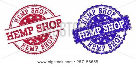 Grunge Hemp Shop Seal Stamps In Blue And Red Colors. Stamps Have Draft Surface. Vector Rubber Imitat