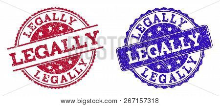Grunge Legally Seal Stamps In Blue And Red Colors. Stamps Have Draft Texture. Vector Rubber Imitatio