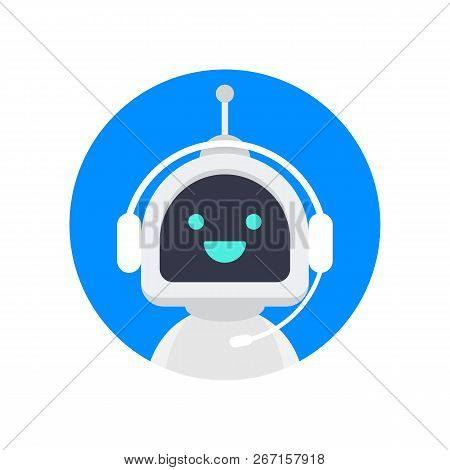 Cute Smiling Robot, Chat Bot Say Hi.vector Modern Flat Cartoon Character Illustration. Voice Support