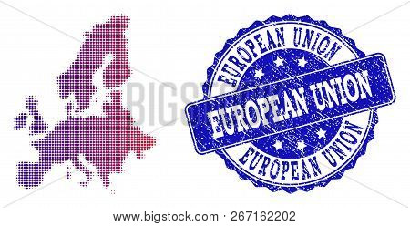 Halftone Dot Map Of Euro Union And Blue Corroded Seal Stamp. Vector Halftone Map Of Euro Union Desig