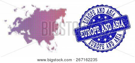 Halftone Dot Map Of Europe And Asia And Blue Unclean Seal. Vector Halftone Map Of Europe And Asia De