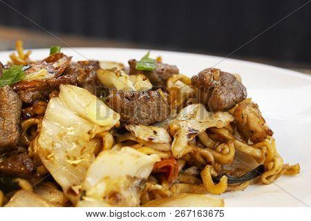 Traditional Beef Yakisoba. Japanese And Chinese Pasta