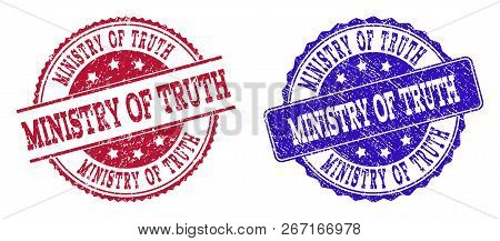 Grunge Ministry Of Truth Seal Stamps In Blue And Red Colors. Stamps Have Draft Style. Vector Rubber