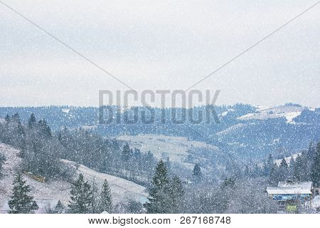 Winter Mountain Landscape. Mountains In The Snow. The First Snow In The Mountains. Twilight On Mount