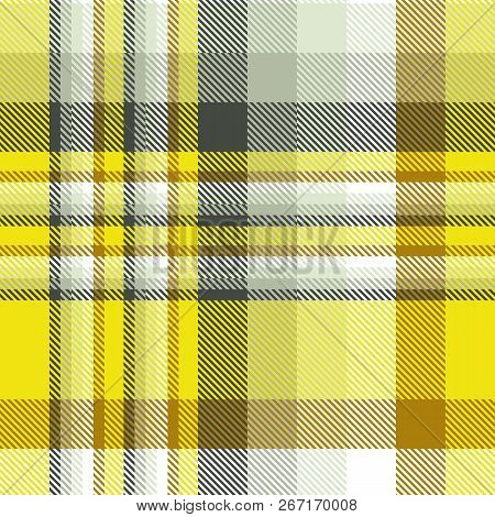 Madras Plaid Pattern In Yellow, Ochre, Grey And White.
