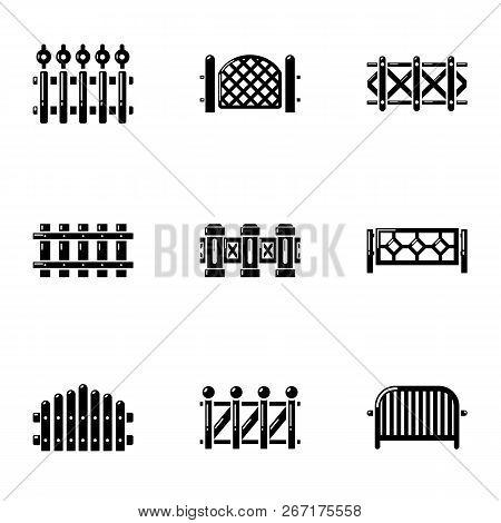 Protective Palisade Icons Set. Simple Set Of 9 Protective Palisade Vector Icons For Web Isolated On
