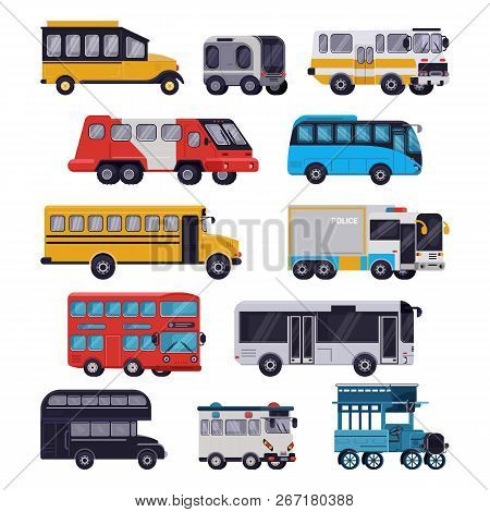 Bus Vector Public Transport Tour Or City Vehicle Schoolbus Sightseeing-bus Transporting Passengers I