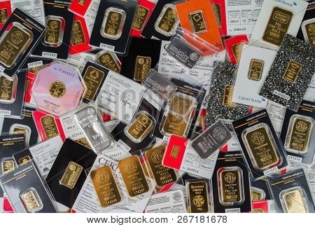 Kyiv, Ukraine - November 2, 2018: Minted Bars Of Gold And Silver Various Weight Sealed In The Origin