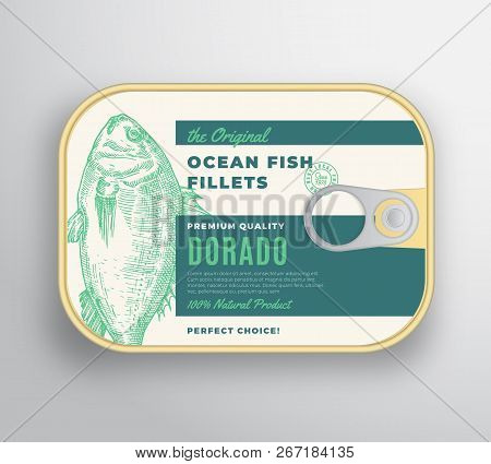 Abstract Vector Ocean Fish Fillets Aluminium Container With Label Cover. Premium Canned Packaging De