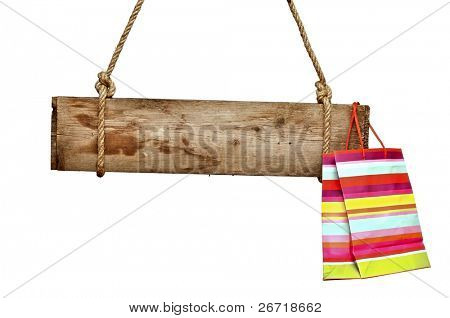 wooden signboard with shopping bag isolated on white