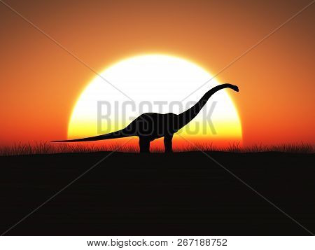 3d Rendering Of A Brontosaurus Dinosaur In Silhouette Standing Against A Big Sun At Sunset.