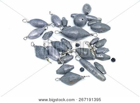 Lead Fishing Weight Sinker On White Background