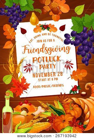 Friendsgiving Potluck Party Of Thanksgiving Holiday. Autumn Harvest Pumpkin Vegetables And Fruits In