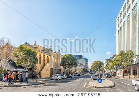 Cape Town, South Africa, August 17, 2018: A View Of Bree Street In Cape Town. The Love Thy Neighbour