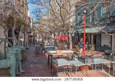 Cape Town, South Africa, August 17, 2018: View Of  A Closed-off Portion Of Church Street In Cape Tow
