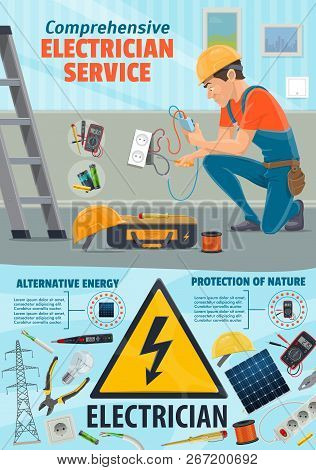 Electrician Worker And Electricity Repair Tools. Power Repairing Equipment Of Socket And Wires, Sola