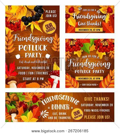 Friendsgiving Potluck Dinner Party Poster. Vector Thanksgiving Holiday Or Friendsgiving Eat And Drin