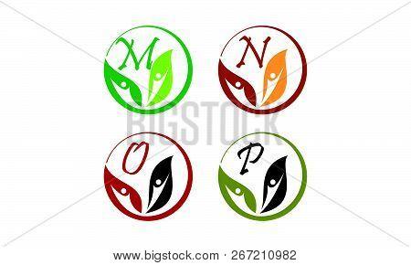 Leaf Health Nutrition Initial M N O P Design Illustration Vector