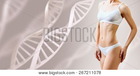 Perfect sporty female body near DNA stems. Over beige background. Good metabolism concept. poster