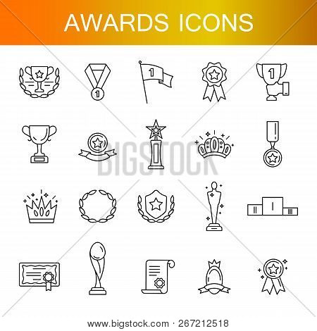 Award Icon Set. High Quality Outline Symbol Collection Of Achievement. Awards And Triumph Icons Coll