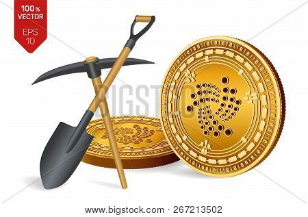 Iota Mining Concept. 3d Isometric Physical Bit Coin With Pickaxe And Shovel. Digital Currency. Crypt