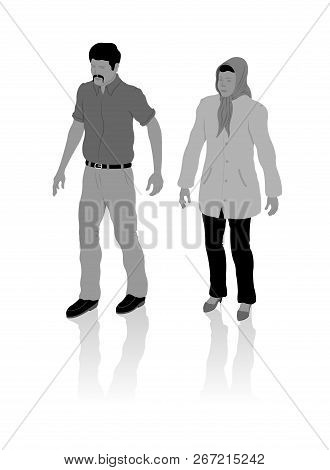 Nationalist Turkish Man And Woman From Middle East With Local Clothes. All The Objects, Shadows And