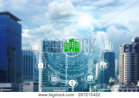 Property Investment Icons Over The Network Connection On Property Background, Property Investment Co