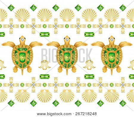 Decorative Ornament Of Turtles On The White Background