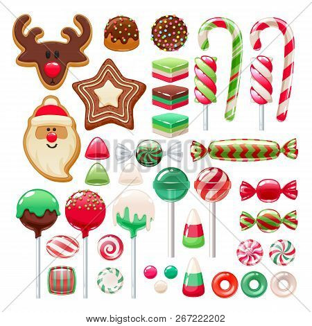 Colorful Christmas Sweets Set - Hard Candy, Chocolate Eggs, Candy Canes, Jellies. Vector Illustratio